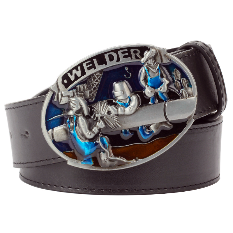Fashion Man's Leather Belt Welder Buckle Workman Belt Welding Worker Welder Profession Metal Buckle Belt For Gift Men