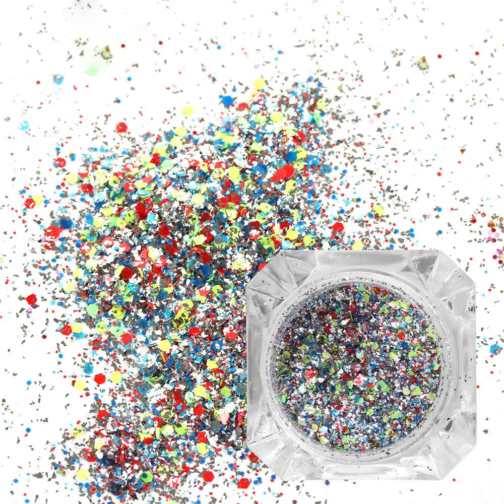 1PC Mix Color Shiny Holographic Laser Nail Art Glitters Powder Dust Hexagon Nails Sequins Decorations Manicure Tips Accessories