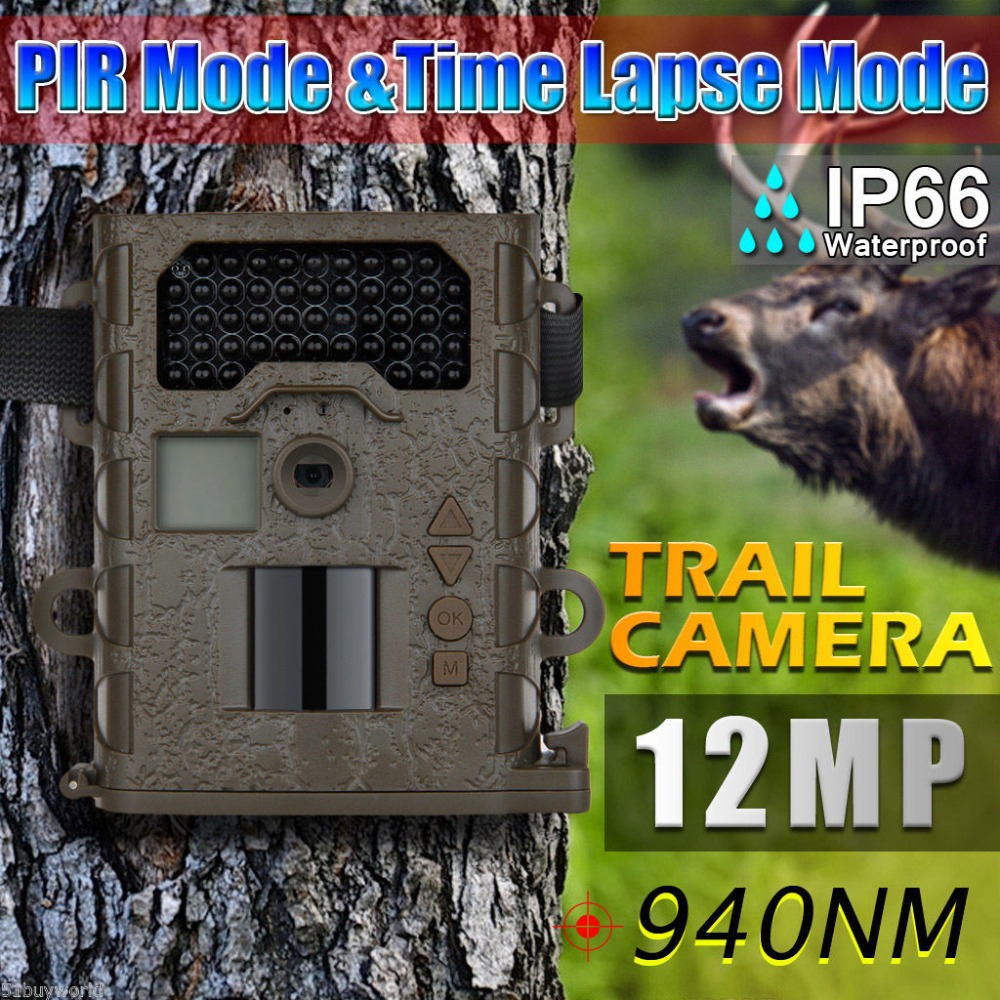 12mp Waterproof IP66 Invisible IR hunting cameras Night vision 48 IR LEDs chasse Scouting font b