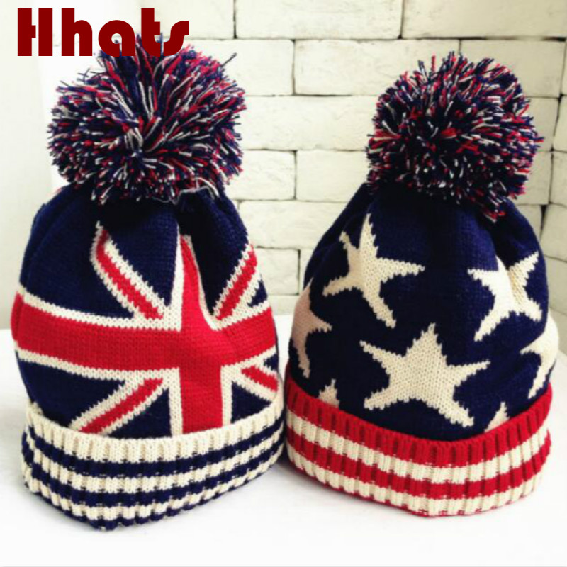 Which in shower star knitted pompom hat thick warm double-deck winter cap casual pompon ball children   skullies     beanie   bonnet