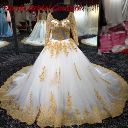 2017 cuadro verdadero oro blanco vestido de novia de encaje con