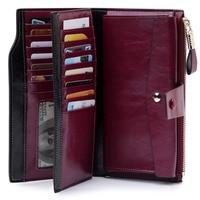 Luxury Wallet Women Long Zipper Rfid Coin Wallet Women Genuine Leather Purse Leather Female Clutch Travel Money Bag Card Holder