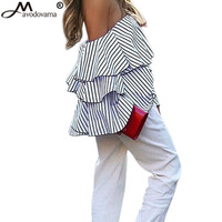 Avodovama M Women 2017 Petal Sleeves Stripe Blouse Off Shoulder Elegant Female Clothes Blouse Shirts Tops