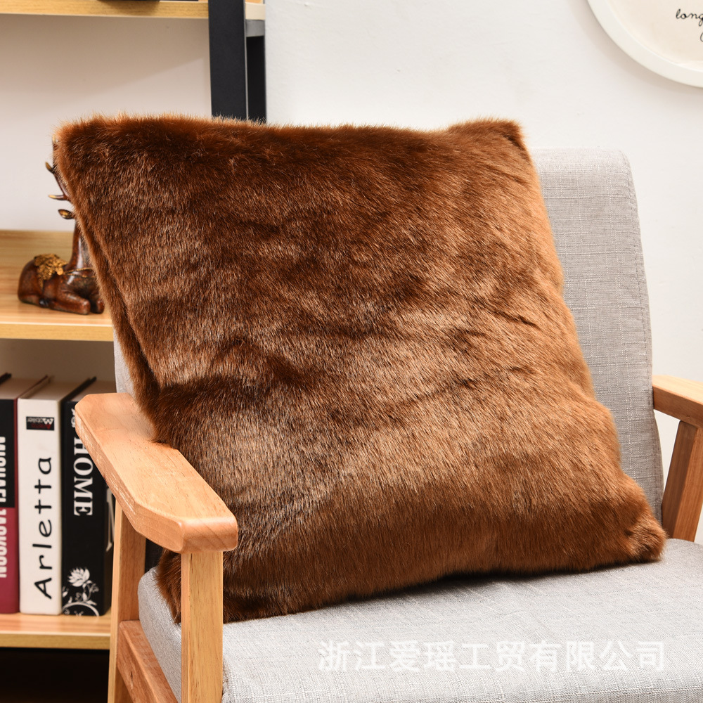 Double Side Faux Fox Fur <font><b>Pillowcase</b></font> <font><b>50x50</b></font> Super Soft Brown Plush Cushion Cover For Car Couch Living Room Decorative Pillow Case image
