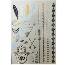 1 Piece Gold Foil Tatoo Temporary Golden Decal For Women Men Body Art Wings Bird Feather Temp Metallic Tattoo Stickers