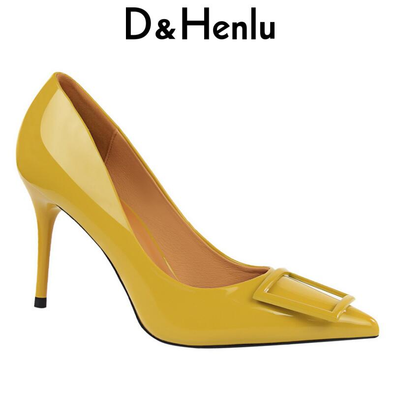 D&Henlu Shoes Brand Women's Sexy Glitter Pumps Pointed Toe Stiletto Thin Heel High Heels Square Buckle Women Shoes Glossi Pumps stiletto heel pointed toe pumps