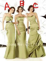 2012 New Style Cheap Mix orders Sweetheart Ruched Olive Green A Line Satin Brides Maid Dresses BD0015