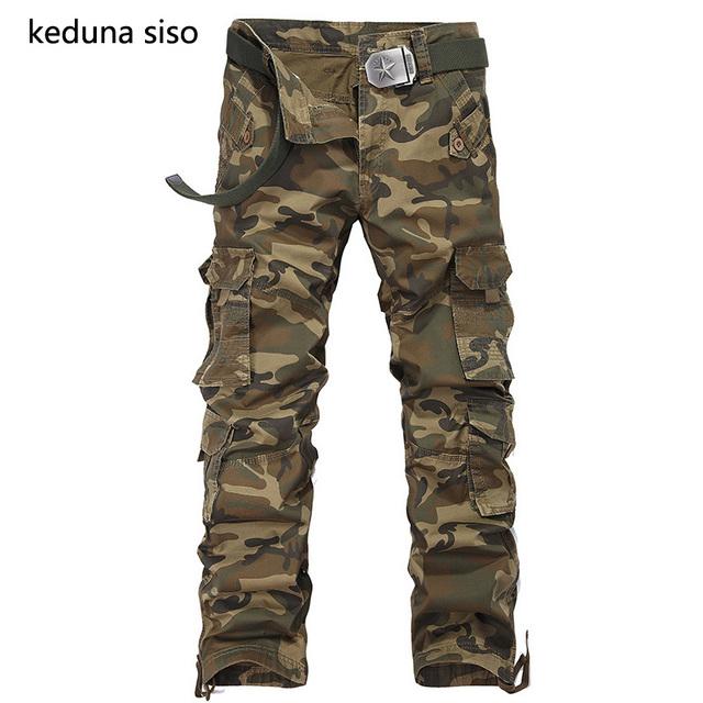 Hombres pantalones Tácticos Militares Hombres de Camuflaje Pantalones Multibolsillos Diseño Hombre Pantalones Cargo Pantalones Casuales de Mediana Altura sin cinturón