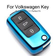 цена на KUKAKEY 6 Colors TPU Car Key Cover Case For Volkswagen Polo Golf Passat Touareg Tiguan Key Bag Shell Holder Keyrings keychain