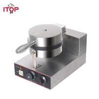 ITOP Commercial Waffle Makers Machine Stainless Steel Waffle Baker Non-stick Electric Waffle Iron Maker Cake Oven 220V