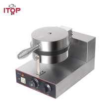 ITOP Commercial Waffle Makers Machine Stainless Steel Waffle Baker Non-stick Electric Waffle Iron Maker Cake Oven 220V electric ice cream bowl waffle baker maker machine stainless steel flower shape non stick cooking surface 220v 110v