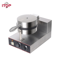 ITOP Commercial Waffle Makers Machine Stainless Steel Waffle Baker Non stick Electric Waffle Iron Maker Cake Oven 220V