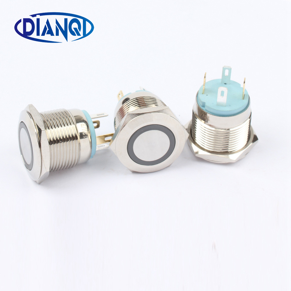 16mm Metal brass Push Button Switch illumination ring Momentary 1NO Car press button pin terminal 3V 5V 12V red blue 16HX.F.K4 5pcs 12mm 3v blue led metal momentary 4pin mini push button switch 1no 2a 250vac