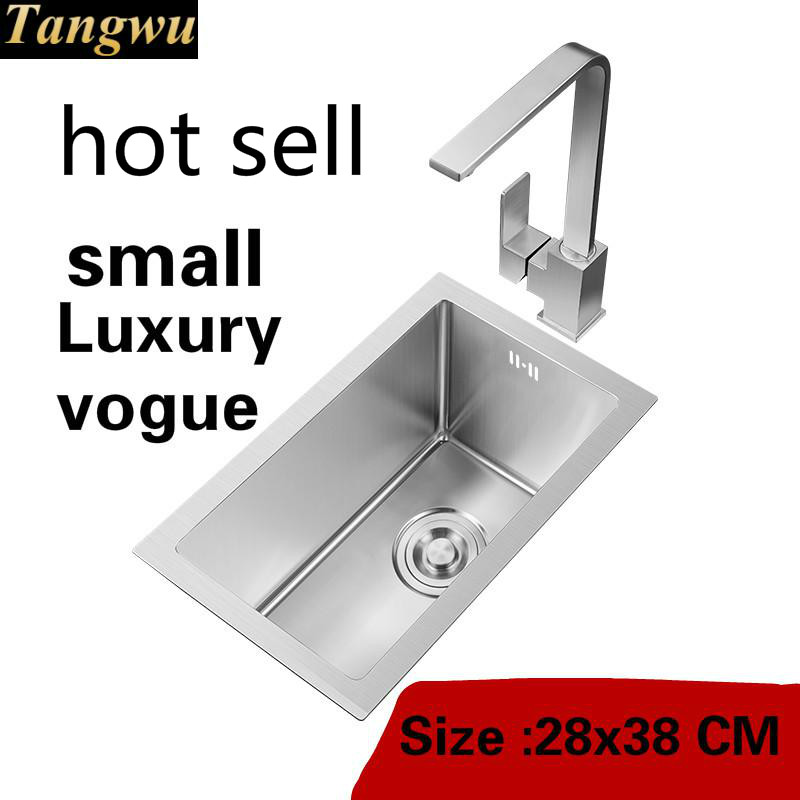 Free Shipping Apartment Small Kitchen Manual Sink Single Trough Do The Dishes 304 Stainless Steel Luxury Hot Sell 280x380 MM