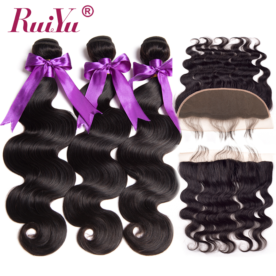 RUIYU Malaysian Human Hair 3 Bundles With Frontal Closure #1B Body Wave Ear To Ear 13x4 Lace Frontal With Bundles Deals Non Remy