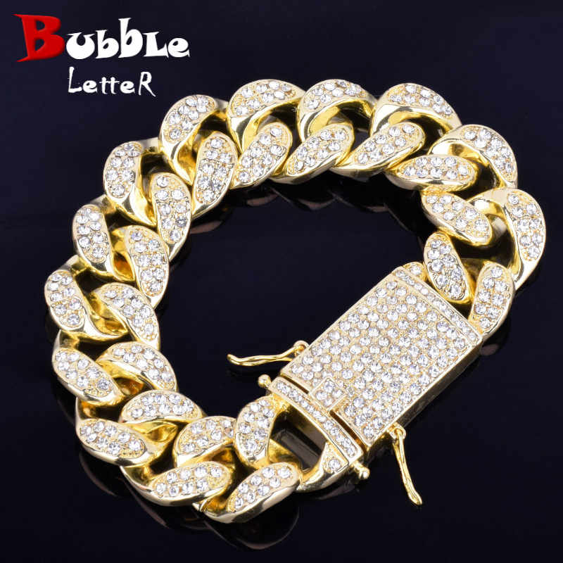 20mm Men's Chunky Iced Crystal Miami Cuban Link Bracelet Bling Hip hop Jewelry Gold Silver Alloy Cuban Chain Bracelet 20cm
