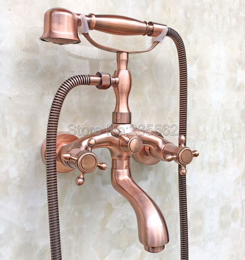 Antique Red Copper Bathroom Shower Taps Dual Handle Bathtub Faucet Set with Wall Mounted Handheld Shower ltf801
