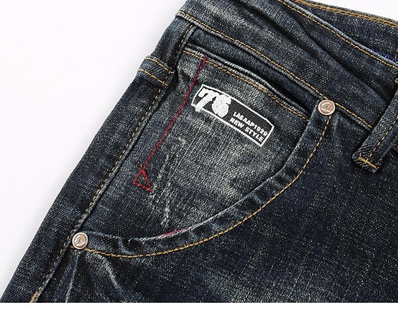 KSTUN Men's Jeans Retro Blue Elasticity Slim Straight Regular Fit Vintage Leisure Motorcycle Jeans Men Denim Pants Jeans Size 40 15