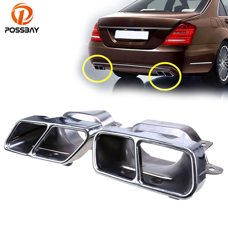 POSSBAY Car Rear Square Exhaust Pipe Tail Muffler Tip for Mercedes Benz S Class W221 2005