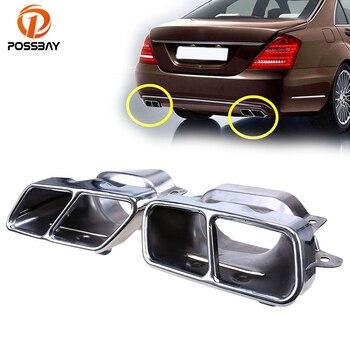 POSSBAY kwadratowe rury wydechowej ogon z tyłu samochodu tłumik wskazówka dla Mercedes Benz klasy S (W221) 2005-2013 ogon rury wydechowej gardła