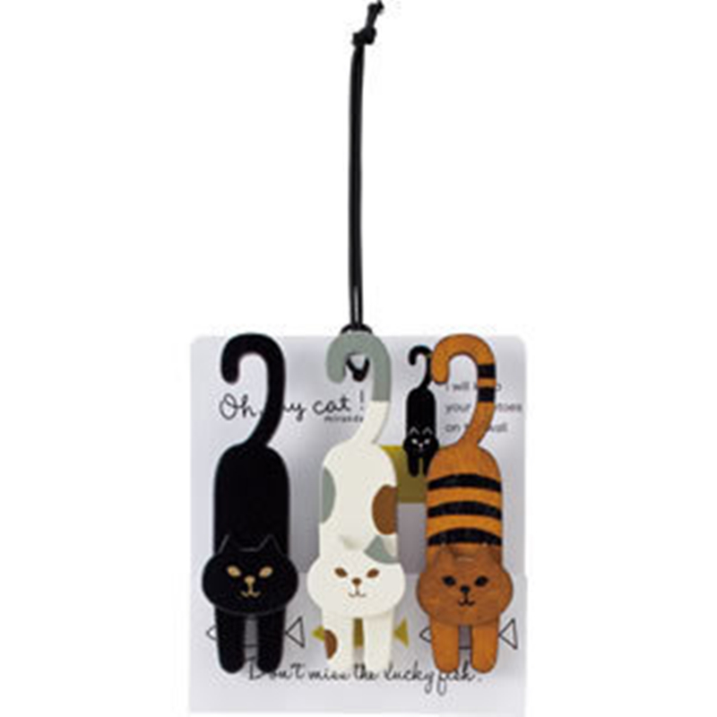 1 компл. (3 шт.) Kawaii канцелярские мини природная роспись Oh My Cat Дерево Клип set/Симпатичные деревянные Бумага Зажимы/Малые суда фото колышки