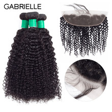 Gabrielle Brazilian Human Hair Kinky Curly Hair 3 Bundles with 13*4 Lace Frontal Natural Black Color Non Remy Hair Weaves #1b(China)