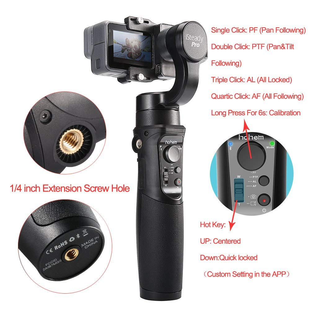 Hohem iSteady Pro 3-Axe stabilisateur de cardan pour GoPro Hero 7 6 5 4 3 Yi 4 K, caméra d'action RXO AEE SJCAM, 3-Axe GoPro Cardan - 6