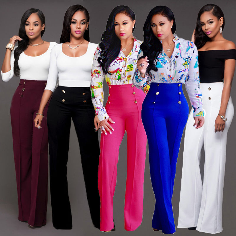 Women Ladies Palazzo Plain Flared Wide Leg Pants Baggy High Waist Trousers Solid