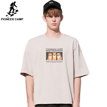 Pioneer Camp Fashion Men t shirt Summer Printed Cat T-Shirt cotton Hip-hop Streetwear high quality loose  ADT902078