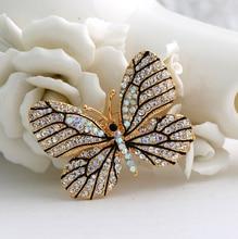 2016 новое Высокое Качество Модные Горный Хрусталь Бабочка Брошь Контактный Золото Женщины Платье Свадебные Броши Булавки