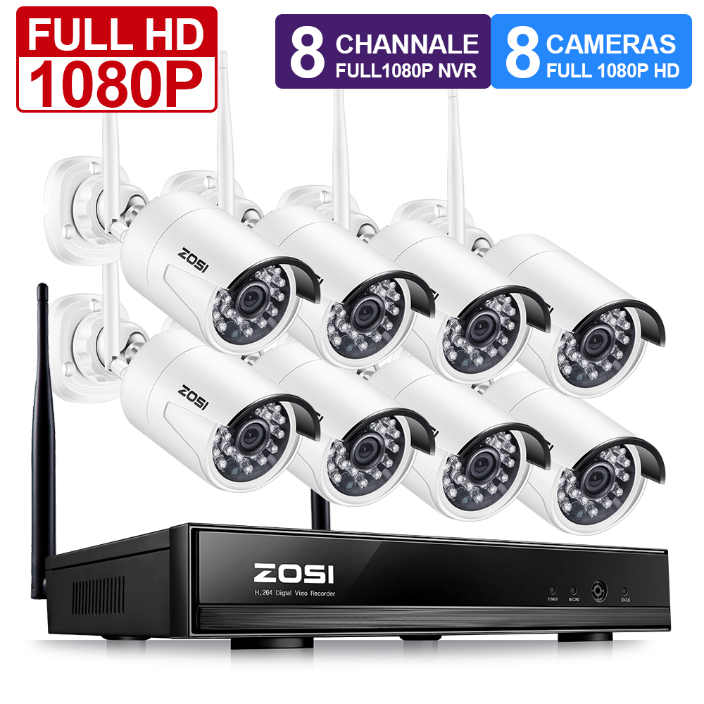 ZOSI 1080P Drahtlose CCTV System 2MP 8CH Leistungsstarke NVR IP IR-CUT Kugel CCTV Kamera WiFi IP Security System Überwachung kits