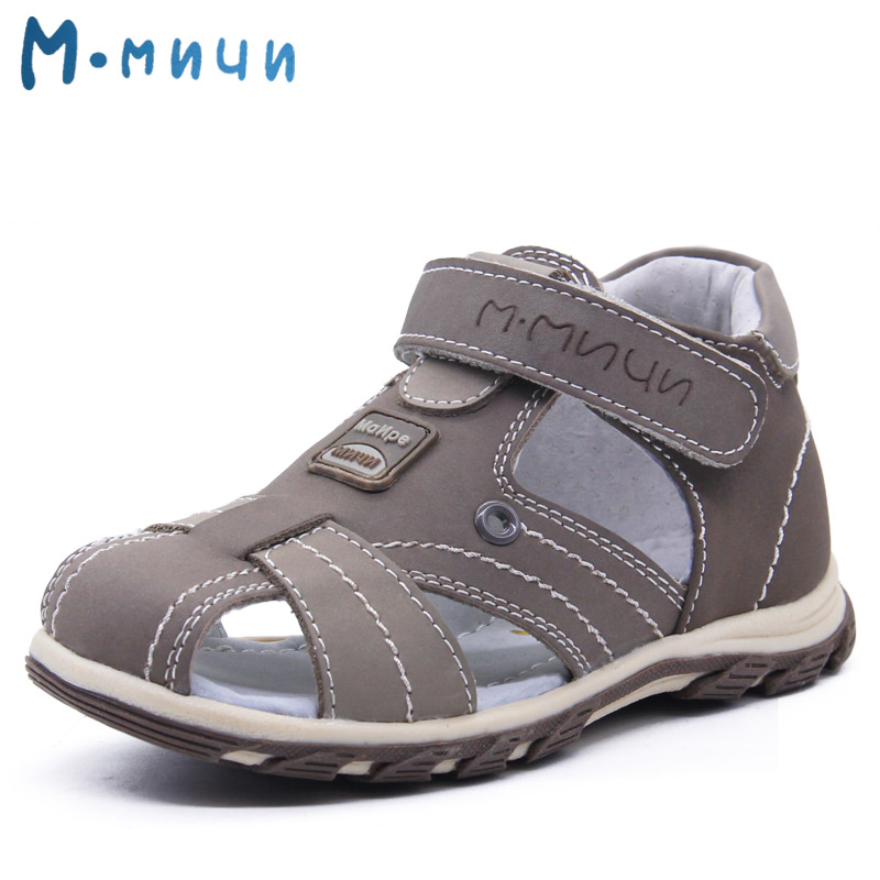 Mmnun 2018 Boys Sandals Genuine Leather Children Sandals Closed Toe Sandals for Little and Big Sport Kids Summer Shoes Size26-31 kelme 2016 new children sport running shoes football boots synthetic leather broken nail kids skid wearable shoes breathable 49