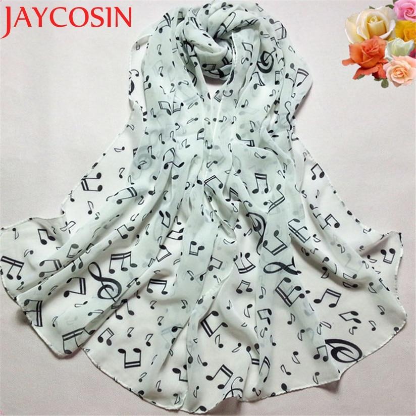 JAYCOSIN New Fashion Women Lady Musical Note Chiffon Neck Scarf Shawl Scarves Black White Beige Drop Shipping