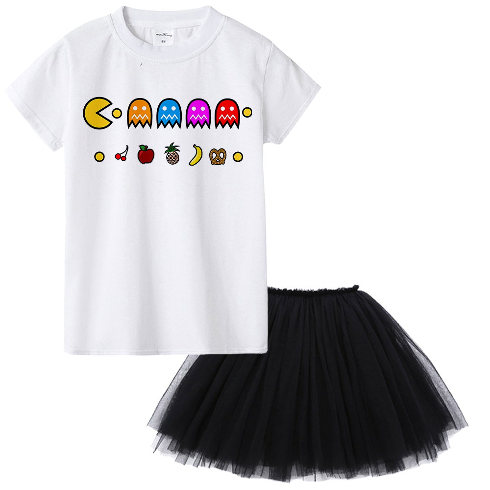 boys girls unisex tops tees shirt for 1-12 years old toddler teens Game Pac Man print funny t-shirt children kids summer clothes