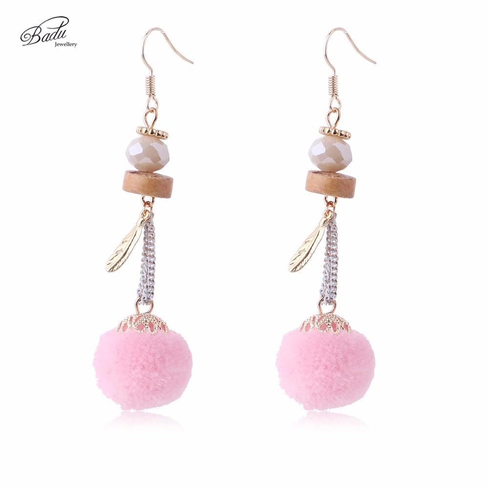Badu Long Pink Earring Women Lovely Pom Dangle Earrings Gold Leaf Pendant Jewelry Boucle Doreille