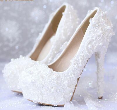 2015 wit kant parel zoete bruid schoenen hoge waterdichte 14 dunne hoge hakken enkele schoenen oversize 39 meisje jurk bruiloft pompen