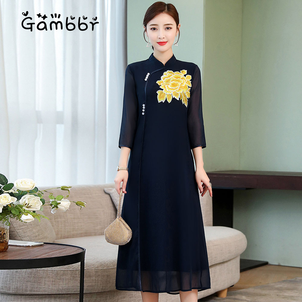 Elegant Chinese Style Dress Summer Qipao Vintage Traditional Long Dress Plus Size High Quality Embroidery Loose Cheongsam Dress