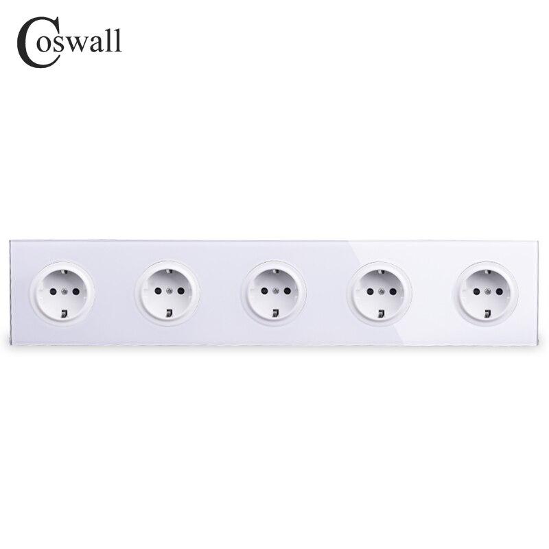 Coswall Cristal Trempé Panneau De Verre Pur 16A 5 EUROPÉENS Standard Mur Prise D'alimentation Prise Terre Avec Enfant De Protection Serrure