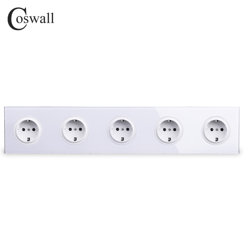 Coswall Crystal Tempered Pure Glass Panel 16A 5 Way EU Standard Wall Power Socket Outlet Grounded With Child Protective Lock