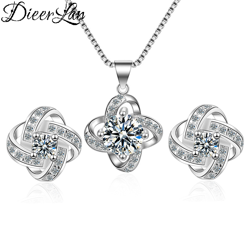2019 Bijoux New Bridal Jewelry Sets 925 Sterling Silver Long Statement Clover Choker Necklaces Zirconia Earrings for Women Gift