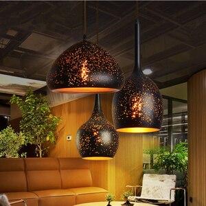 Image 2 - בציר תליון מנורת ברזל לופט נורדי נקבובי רטרו E27 תחריט אהיל בר מסעדת מנורת תעשייתי רוח חלודה תליון מנורה
