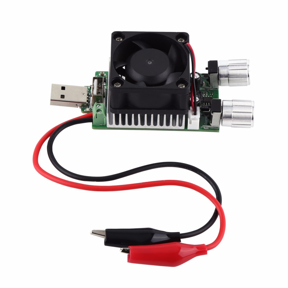 Electronic Test Load resistor Adjustable Current USB Interface Battery Discharge Capacity Tester with Fan 35W DC 3V-21V
