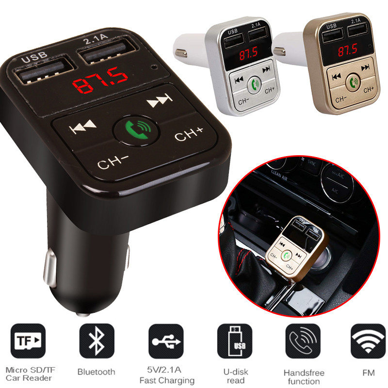 Car <font><b>Bluetooth</b></font> FM Transmitter Wireless Handsfree Audio Receiver Auto LED <font><b>MP3</b></font> Player 2.1A Dual USB Fast Charger Car Accessories image