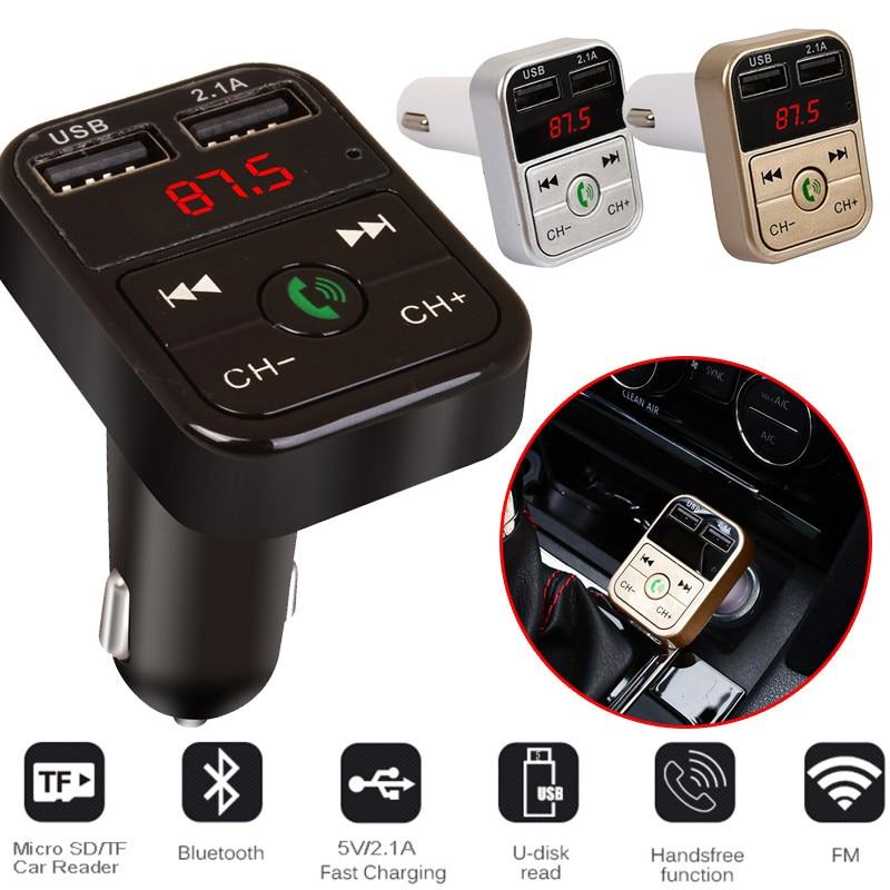 Transmisor FM con Bluetooth de coche receptor de Audio inalámbrico manos libres reproductor de MP3 Auto LED 2.1A Dual USB cargador rápido accesorios de coche