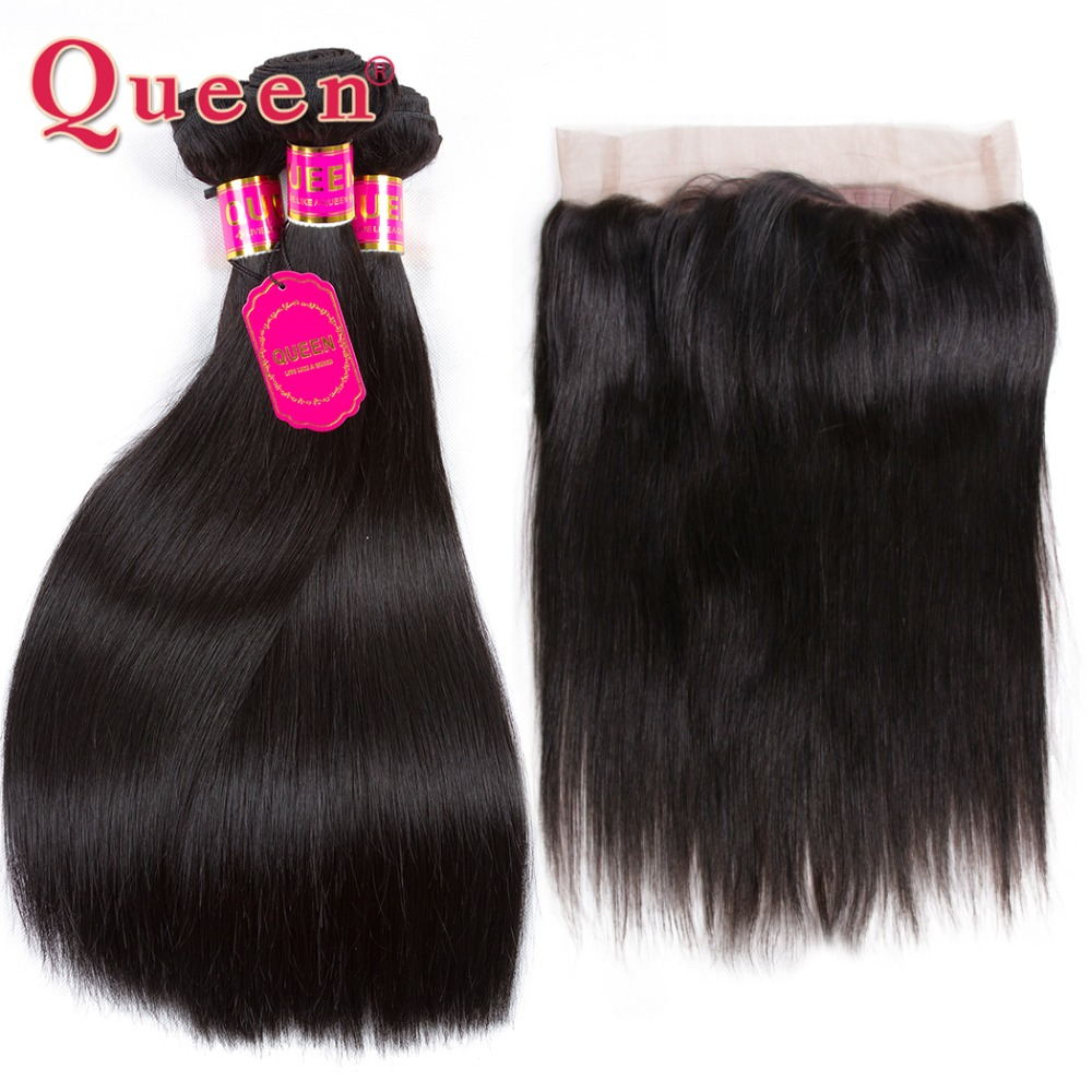 Queen Hair 360 Lace Closure With Bundles Malaysian Straight Hair Bundles Remy Human Hair 3 Bundles