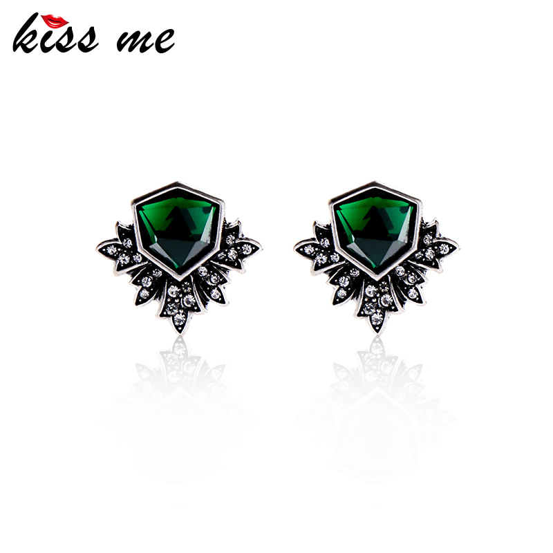 KISS ME Antique Silver Color Green Stud Earringss