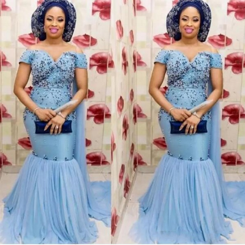 Nigeria Sky Blue Mermaid   Prom     Dresses   Off the Shoulder Beading African Evening   Dress   Abiye Women Robe de soiree abendkleider