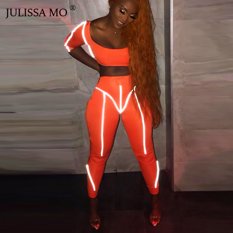 JULISSA MO 2 Piece Set Reflective Trim Bodycon   Jumpsuit   Women Romper Sexy Crop Top and Pants 2019 Spring Casual Skinny Tracksuit