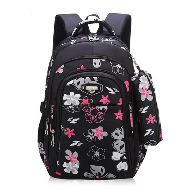 New Big Capacity Zipper Black/pink School Bags for Girls Brand Women Backpack Cheap Shoulder Bag Wholesale Kids Backpacks Floral