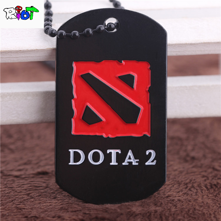 Online Game Dota2 Beads Chain Choker Necklace Red Letter Logo Dog tag Black Pendant Metal Alloy Accessories Men Women jewelry